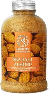 Sea Salt Almond 21oz - 600g - Natural Almond - Cedarwood & Cinnamon Oil - Bath Sea Salts - Best for Bath - Good Sleep - Relaxing - Body Care - Beauty