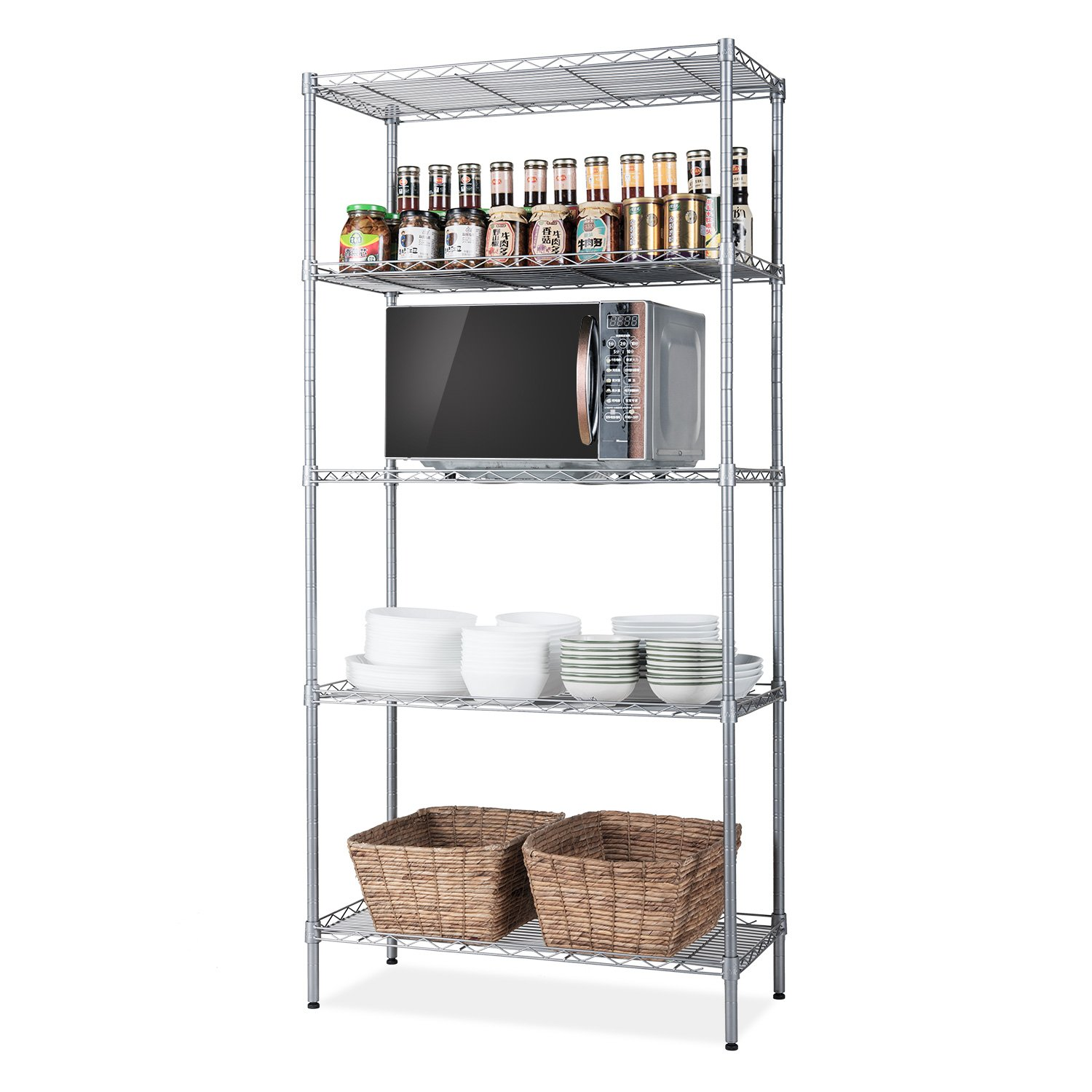 "SINGAYE Storage Rack Silver 5-Tier Mesh Shelving Unit Storage Shelves Metal for Pantry Closet Kitchen Laundry 23.6"" L x 14"" W x 59.1"" H"