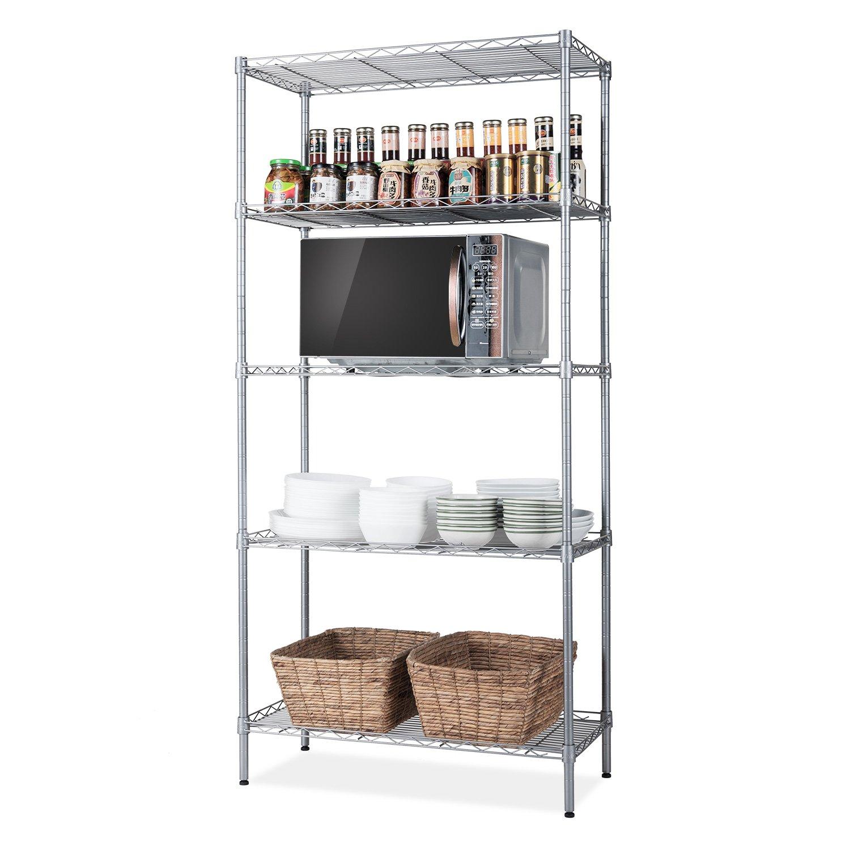 "SINGAYE Storage Rack Silver 5-Tier Mesh Shelving Unit Storage Shelves Metal for Pantry Closet Kitchen Laundry 23.6"" L x 14"" W x 59.1"" H"