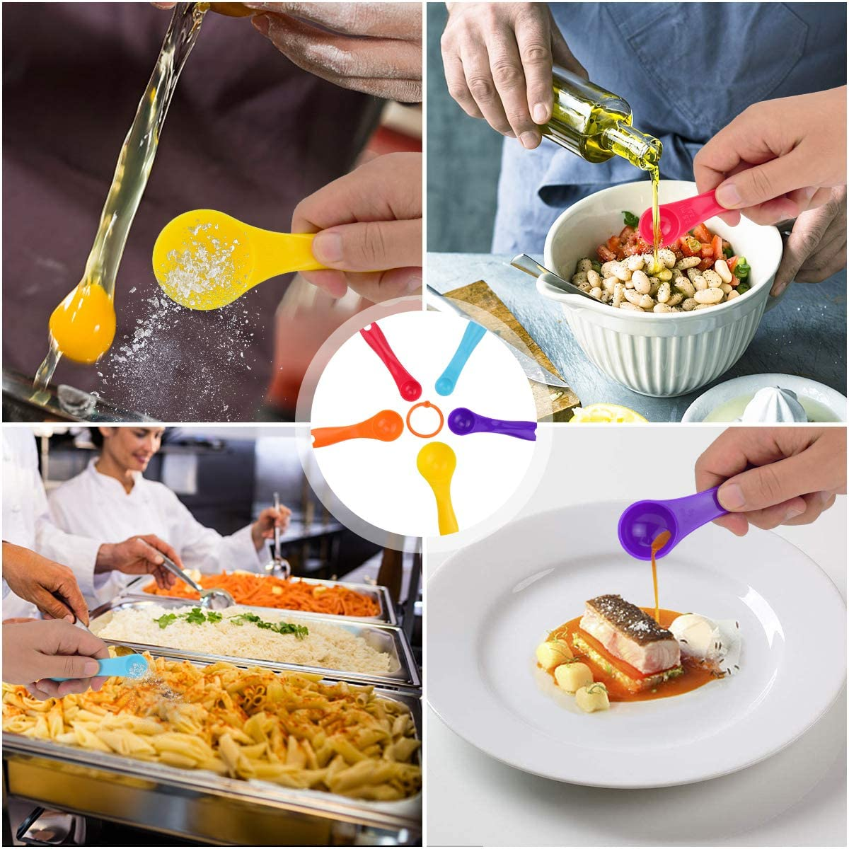 Juego de Herramientas de Cocina Zubita Juego de Utensilios de Cocina Juego de Utensilios de Cocina de 5 Piezas Cuchara medidora Colorida