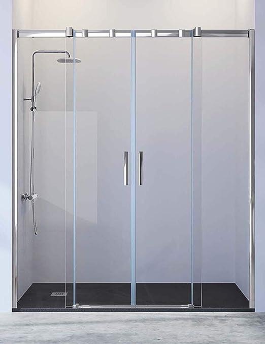 Mampara de Ducha Frontal - 2 Hojas Fijas y 2 Puertas Correderas -Cristal de Seguridad de 8 mm - Modelo Triana 4 (166-170 cm): Amazon.es: Bricolaje y herramientas
