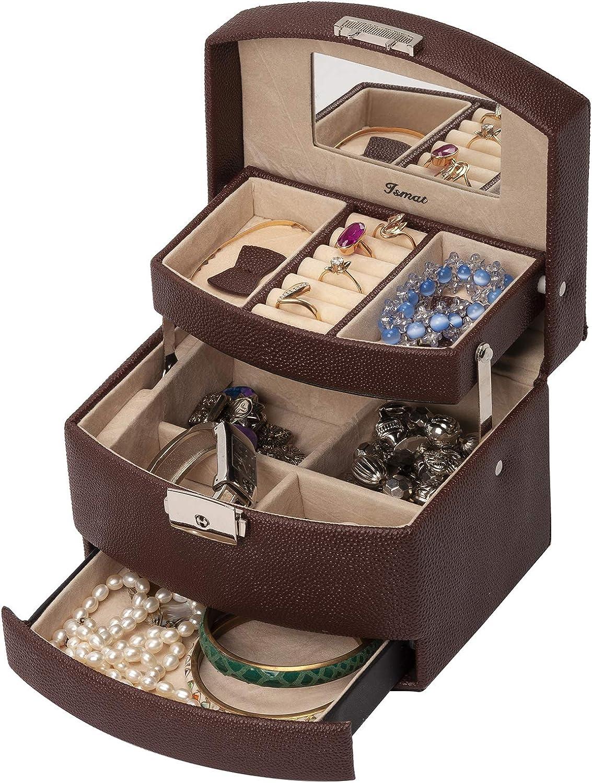 IsmatDecor – Joyero pequeño Mujer o Niña – Caja joyero organizador para pendientes, collares y anillos – con Espejo y Cierre con llave – Acabado en cuero sintético de alta calidad