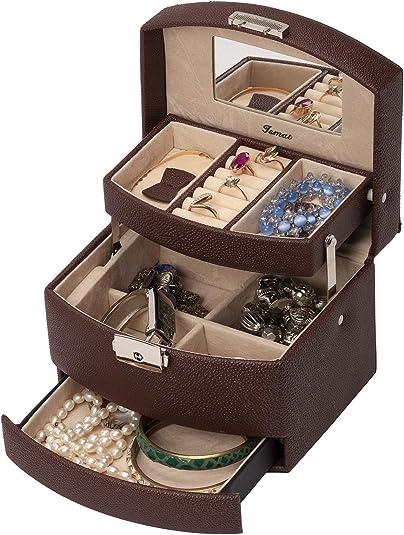 IsmatDecor Joyero de Cuero Artificial, Caja para Joyas, Pulseras, Pendientes, Anillos - S501D (Marrón): Amazon.es: Joyería