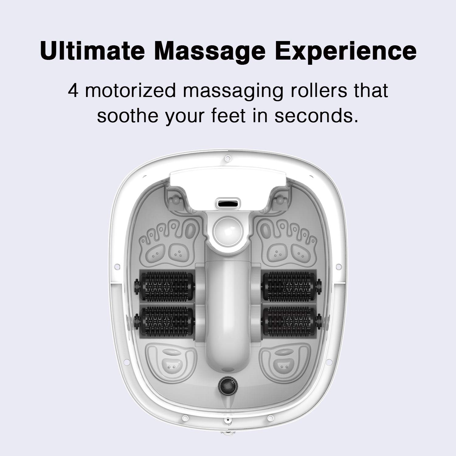 Comfortology Aura Foot Spa Massager - Super Fast Heating System, 4 Motorized Massaging Rollers, Whisper Quiet, 10L Bath Tub With Remote Control by COMFORTOLOGY (Image #4)