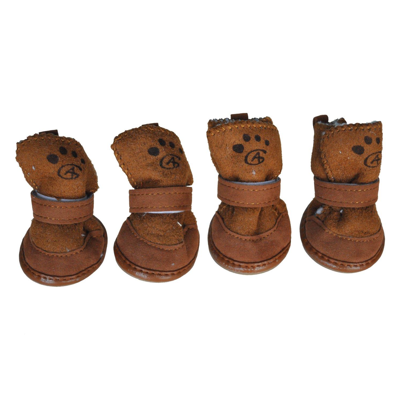 SODIAL(R) Brun Crochet de Fermeture de Boucle Chaussons de Chien Chihuahua Chaussures Bottes 2 Paire S