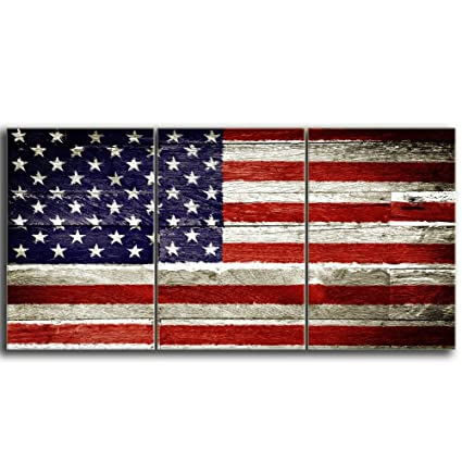 Kalawa Wooden Flag Wall Pictures For Living Room Rustic American Flag Vintage Retro Style Patriotic Concept 3 Panels Canvas Prints Wall Art Stretched