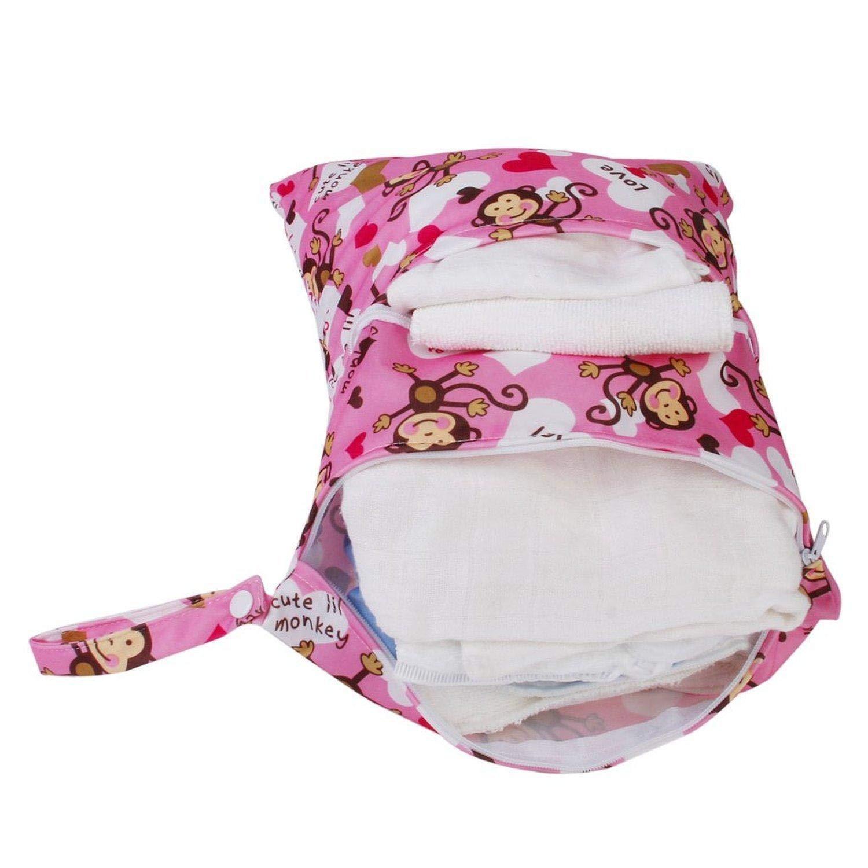 bolsa impermeable para pa/ñales de viaje con asa reutilizable bolsa organizadora de guarder/ía Bolsa de pa/ñales de tela h/úmeda y seca Depory
