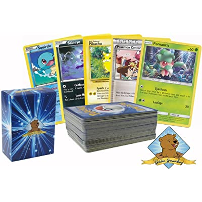 100 Pokemon Cards with No Duplication, Includes Golden Groundhog Box
