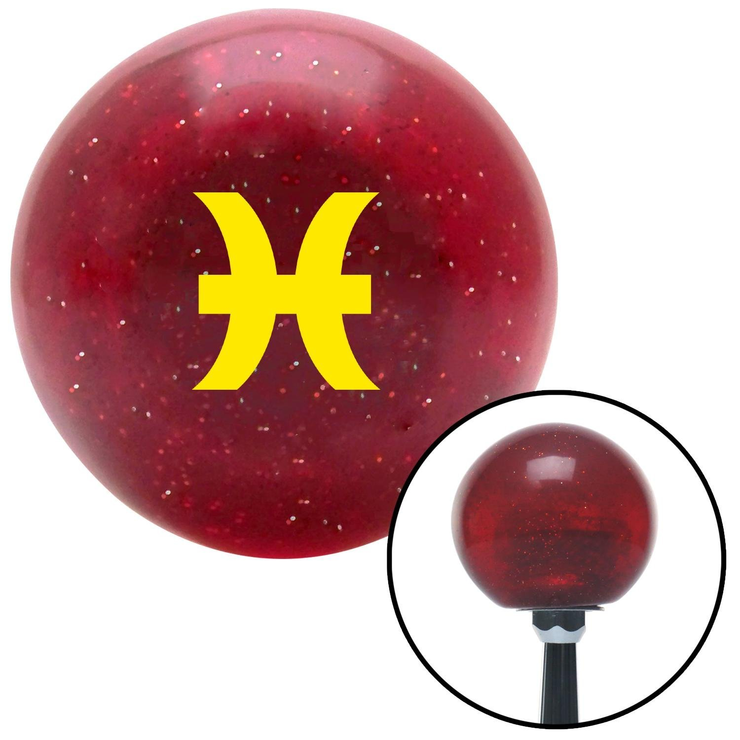 Yellow Pisces Red Metal Flake with M16 x 1.5 Insert American Shifter 282452 Shift Knob