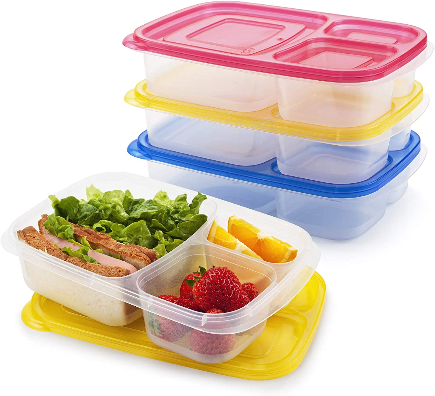 Freshmage Bento Lunch Box Containers, 3 Pack Reusable Microwave Dishwasher Safe Leakproof Food Meal Prep Containers with 3 Compartments
