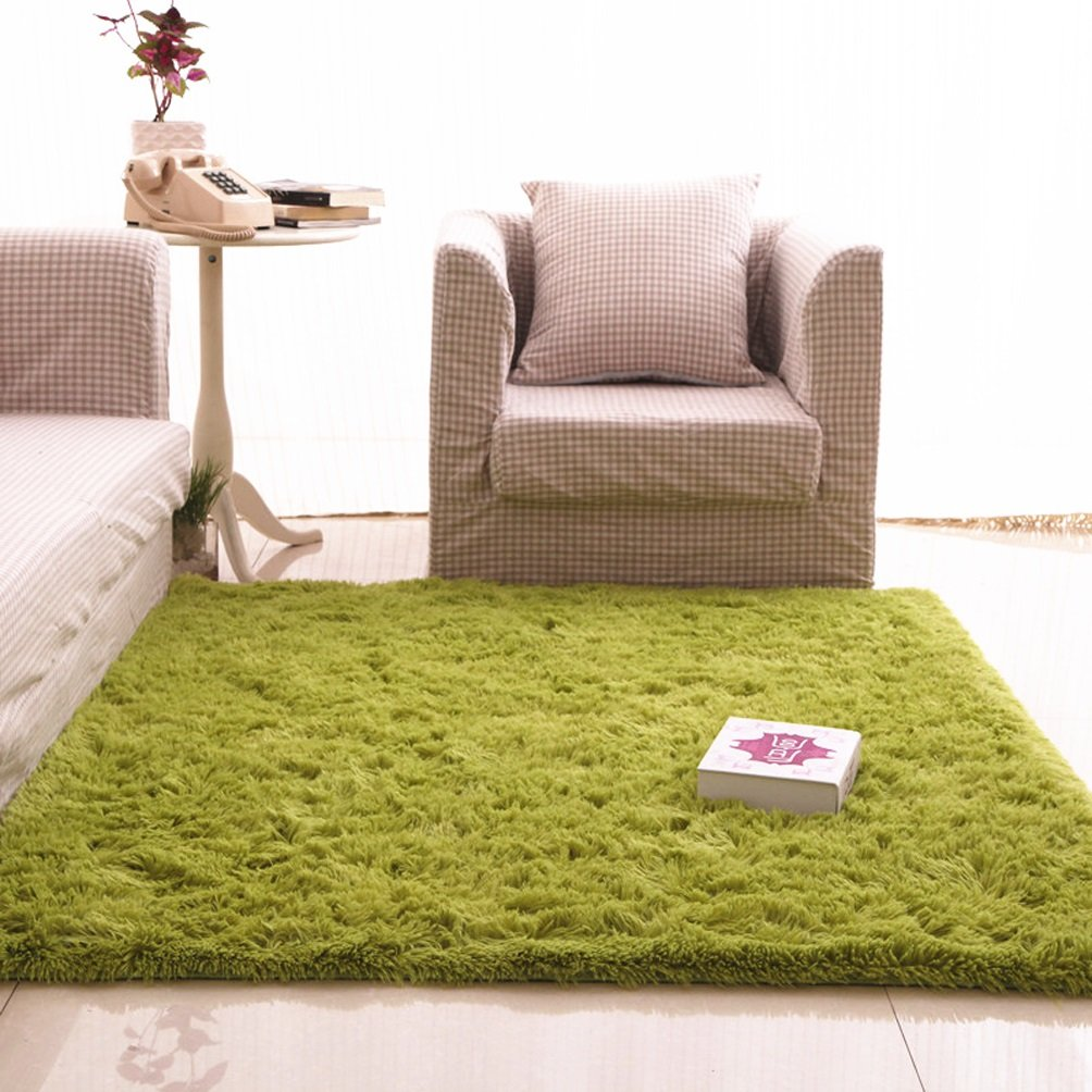 Rug WAN SAN QIAN- Children Bedroom Carpet Living Room Carpet Sofa Europe Princess Rectangle Blended Carpet Long Hair Coarse Shag (Color : Green, Size : 100x160cm)