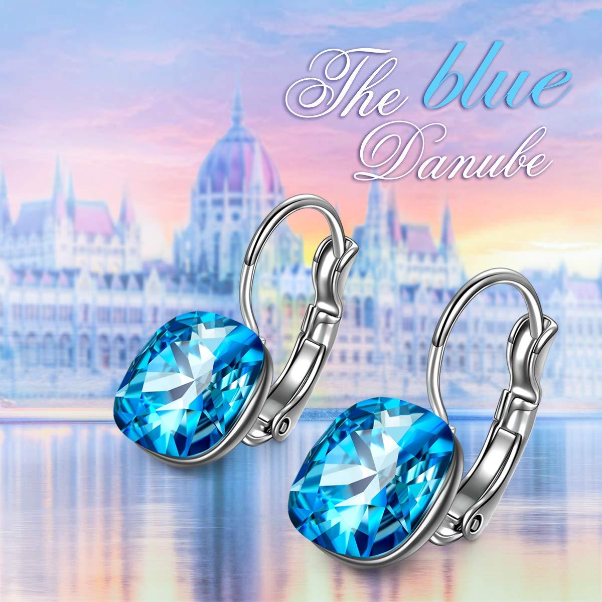 bijoux femme avec bleu oc/éan swarovski elements cadeau fete des meres boucle doreille femme J./RENE/É Classique rondes