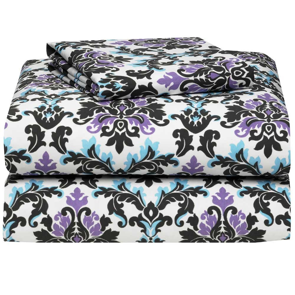 Ashley Damask 3 Piece Twin XL Sheet Set for College Dorm Bedding