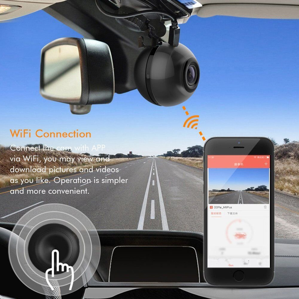 Dashboard Camera, Wireless Mini Dash Cam WiFi Driving Video Recorder Car  DVR Camcorder 1080P 140° Angle Clear Night Vision, APP Connection 360°