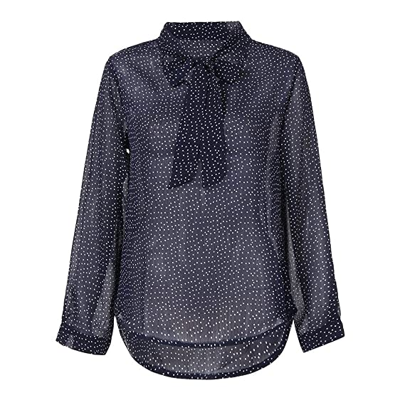 f1e659fbf44 OrchidAmor Women Spring 2019 Autumn O Neck Long Sleeve Polka Dot Chiffon  Top Casual Blouse Tops T-Shirt at Amazon Women s Clothing store