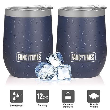 Amazon.com: Fancytimes Vaso de vino de acero inoxidable con ...