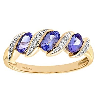 Naava 9ct Yellow Gold Tanzanite and Diamond Eternity Ring V3TW58NUC