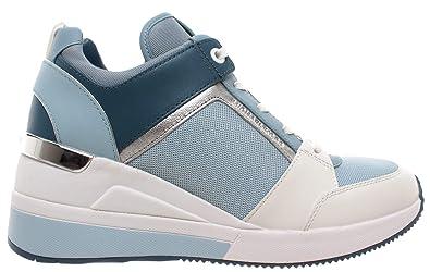 d78167368 Michael Kors Georgie Trainer Leather 43R9GEFS1L Pale Ocean Women's Shoe  Sneakers Blue