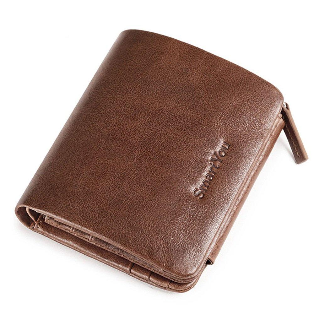 Cremallera de los hombres Bolso de mano de cuero Mini BaoChao Light Bolso de tarjeta de seguridad práctico simple Bolso de cremallera de cero cartera ...