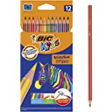 BIC Kids Evolution Stripes Colouring Pencils - Assorted Colours, Pack of 12