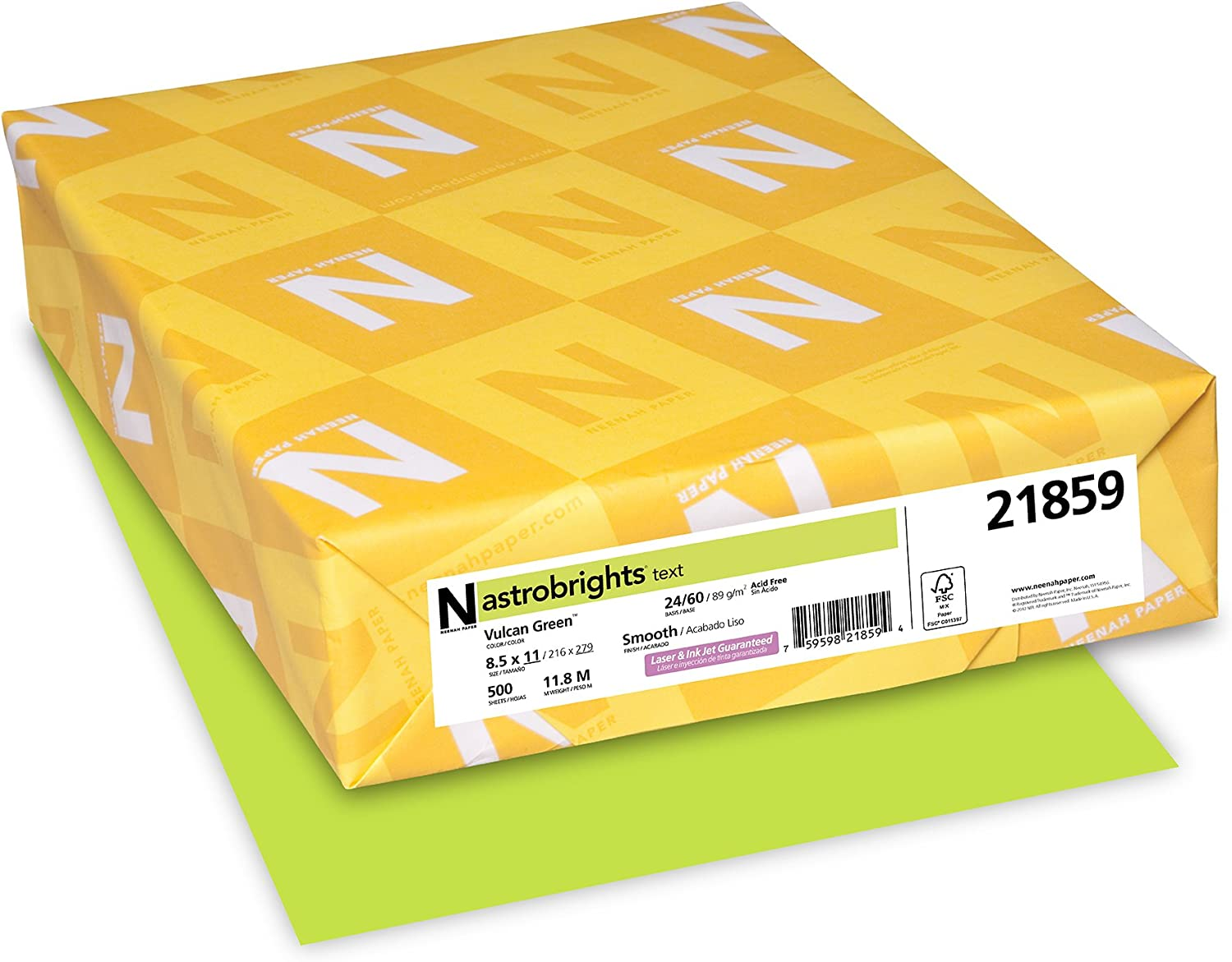 """Neenah 21859 Astrobrights Color Paper, 8.5"""" x 11"""", 24 lb / 89 GSM, Vulcan Green, 500 Sheets : Printer And Copier Paper : Office Products"""