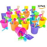 "Beach Bucket and Shovel Set - (Pack of 12) Party Favor Sand Box Play Set and Beach Sand Pail Includes 3-1/4"" Tall Bucket, Shovel, Rake, Scoop Beach Sand Toy for Birthday or Mermaid Theme - By Bedwina"