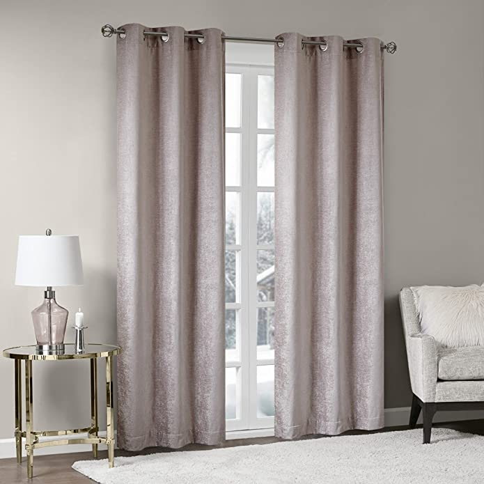 42u0022x63u0022 Valor Chenille Blackout Window Curtain Pair Blush