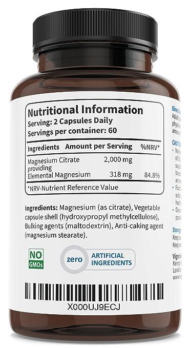 Citrato de magnesio 1000 mg 120 cápsulas para 2 meses - Alivia el cansancio y la fatiga - Salud muscular y ósea - Refuerza el sistema nervioso - Ayuda a ...