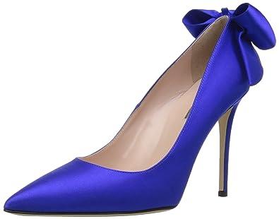 966a7b9fa02 SJP by Sarah Jessica Parker Women s Lucille Pointed Toe Bow Pump Expert  Blue Sat 36.5 B