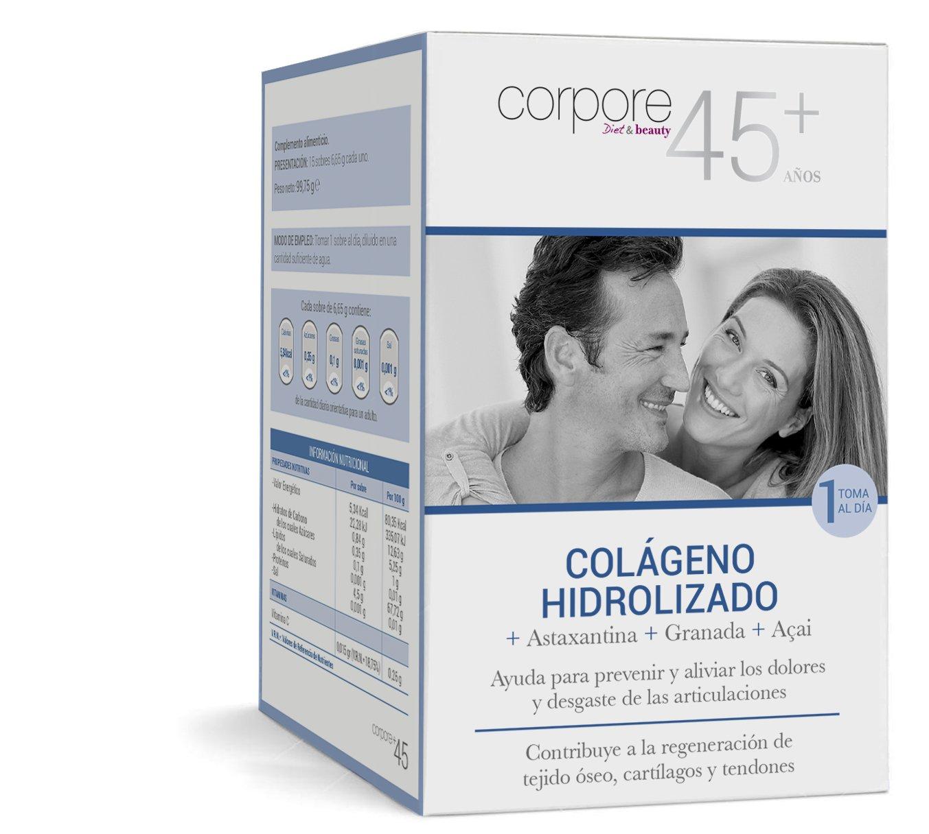 Corpore+45 Sobres de Colágeno Hidrolizado - 15 Unidades: Amazon.es: Salud y cuidado personal