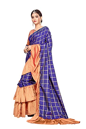 5f258b78cc91b0 Fab Dadu Women s Ruffle Silk Saree With Blouse Piece (Fd-Sr-10079-Blue) …   Amazon.in  Clothing   Accessories