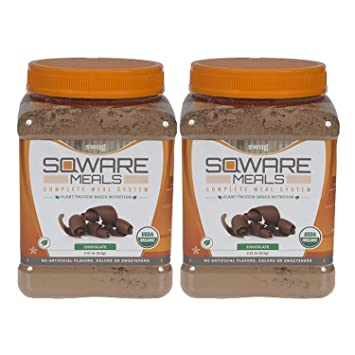 SQWARE Meals - Organic Complete Meal System, Plant Protein Based Nutrition Chocolate, 32 Servings