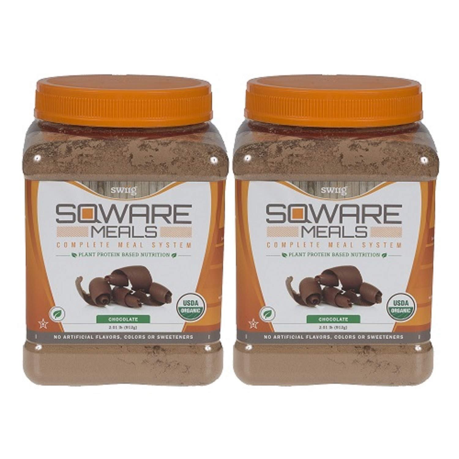 SQWARE Meals - Organic Complete Meal System, Plant Protein Based Nutrition Chocolate, 32 Servings (1 Month Supply)