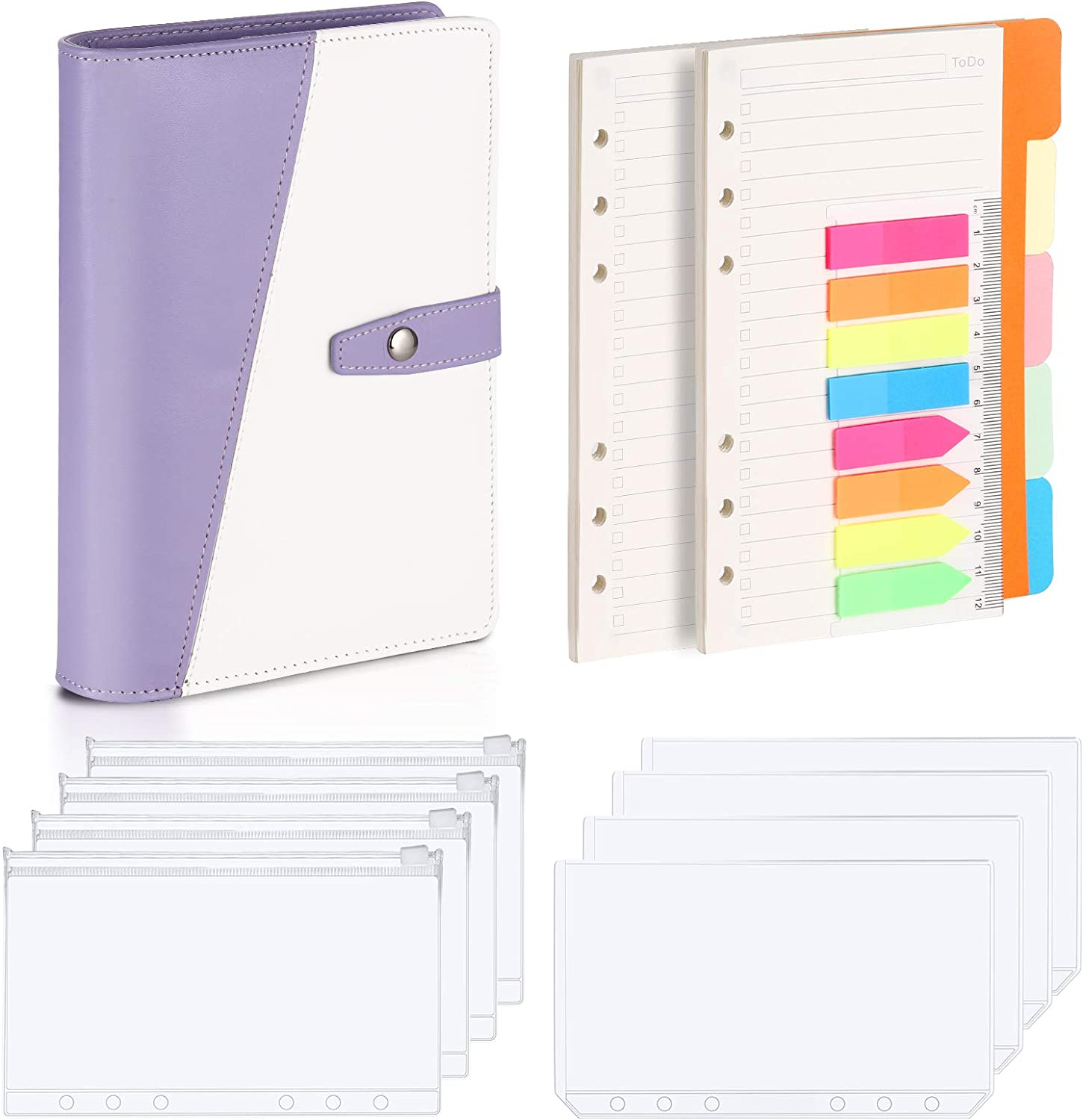 Loose Leaf Personal Organizer Binder Cover Purple Leather Binder Onlyesh Budget Binder A6 Binder with 6 Ring Planner Ideal Budget Planner Gift for Women