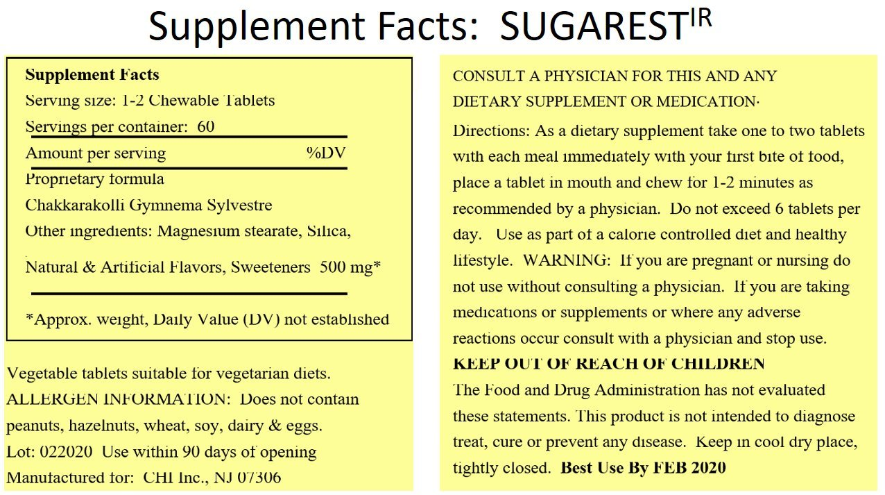 SUGAREST-ir 90 ct Top Carb Blocker Weight Loss Diet Pills Max Strength Lose Weight Chewable Supplement USA for Women & Men 90 ct