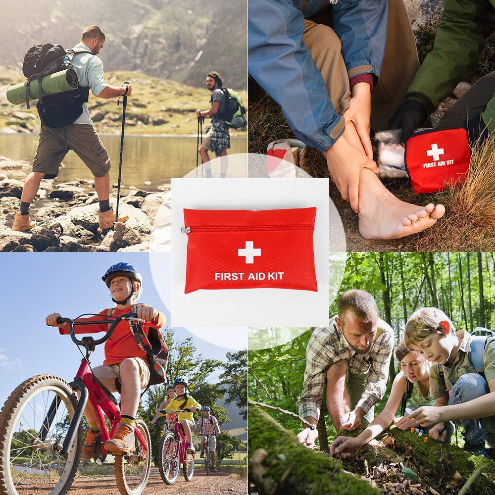 Botiqu/ín Primeros Auxilios,Kits de Supervivencia de Emergencia Mini Primeros Auxilios 78 Pack Bolsa de Supervivencia M/édica Incluye Tabletas de Vendaje Bastoncillos para Viajes Oficina Hogar Coche