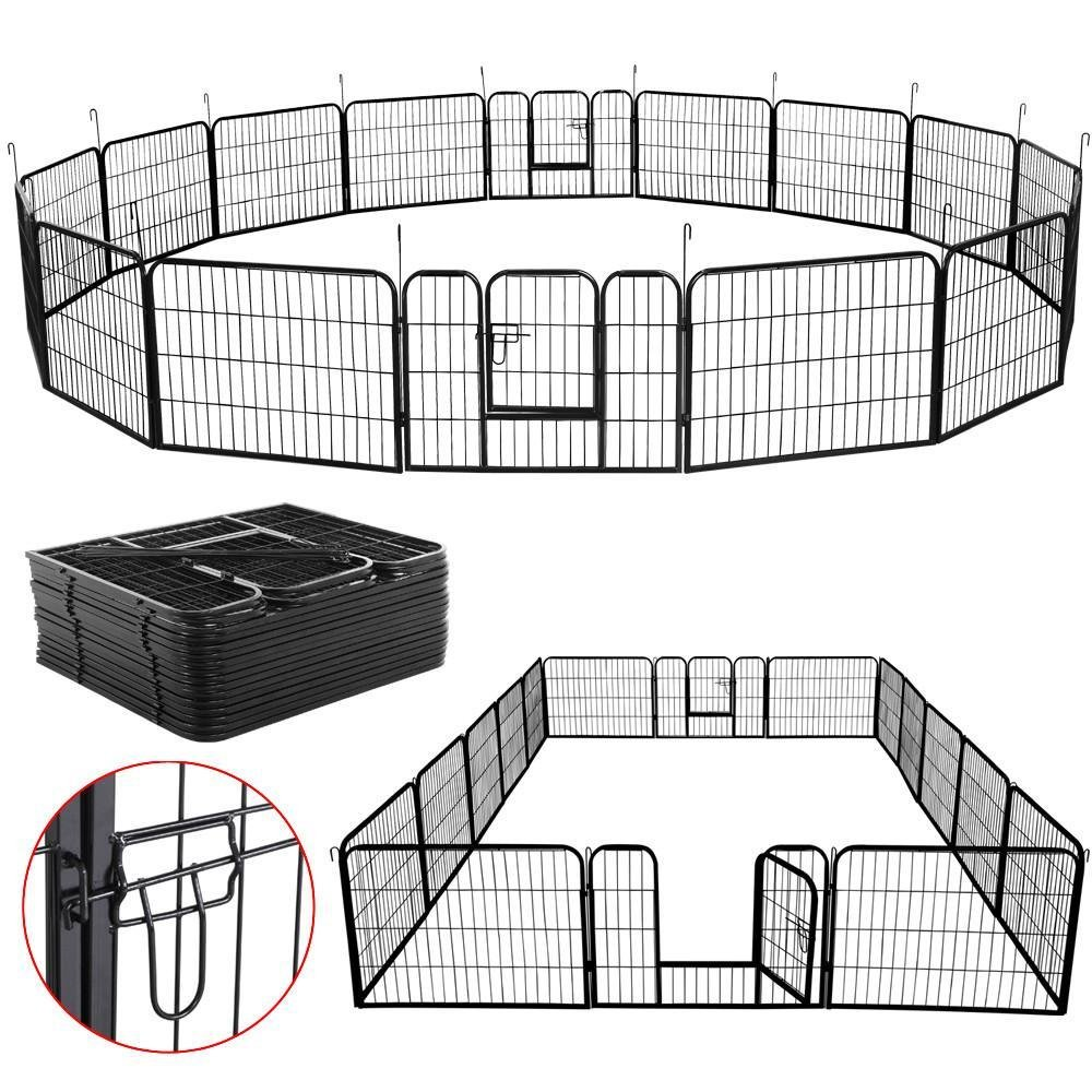 Yaheetech 24'' Tall Metal Pet Dog Puppy Cat Exercise Fence Barrier Playpen Kennel, 16 Panels