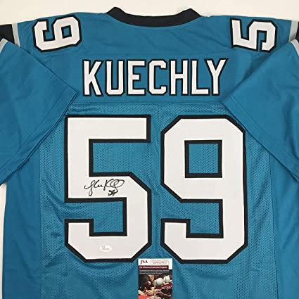 new styles 09d54 d06f5 Autographed/Signed Luke Kuechly Carolina Blue Football ...