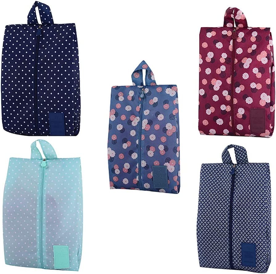 Afco Shoe Storage Bag,Flower Dot Star Waterproof Portable Zipper Handle Travel Shoes Pouch Holder 1#