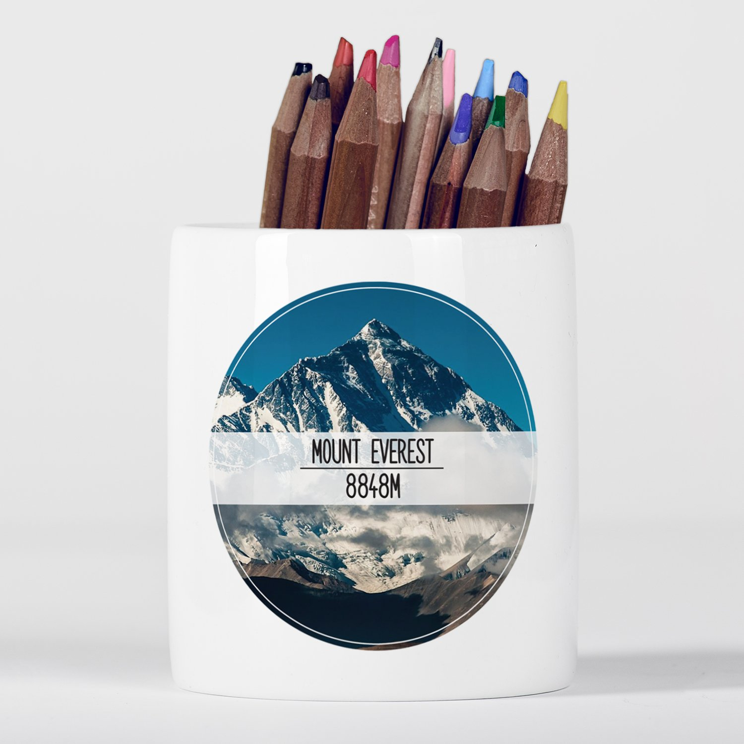 Mount Everest Himalayas Mountains Wanderlust Motivational Portapenne in ceramica Micro Gorilla