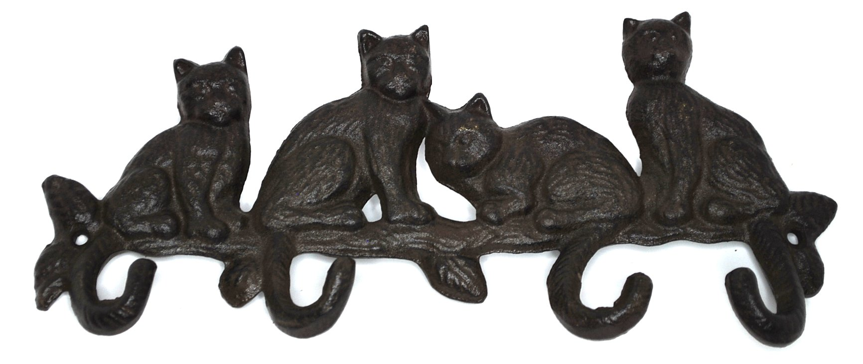 Iron Rustic Wall Hooks 4 Cats Iron Key Rack Animal Hooks Keyholder Home Decor Organizer Kitchen Bath Office Hat Bag Coat Towel Hook Purse Holder Storage Hook