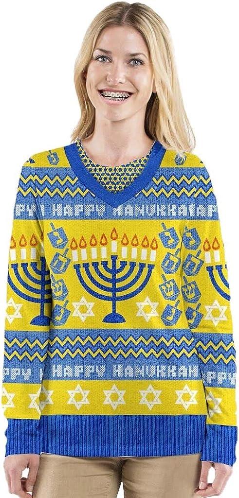 Faux Real Mens Ugly Hanukkah Faux Sweater Long-Sleeve T-Shirt