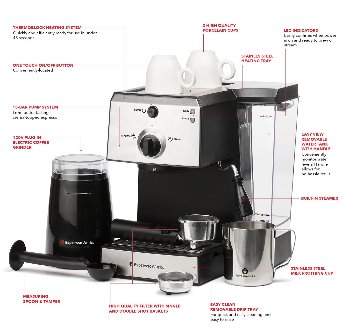 7 Pc All-In-One Espresso/Cappuccino Machine Bundle Set- (Includes: Electric Coffee Bean Grinder, Portafilter, Stainless Steel Frothing Cup, Measuring Spoon w/ Tamper & 2 Espresso Cups), Silver/Black by EspressoWorks (Image #4)
