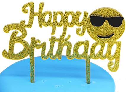 Image Unavailable Not Available For Color Gold Happy Birthday Cake Topper