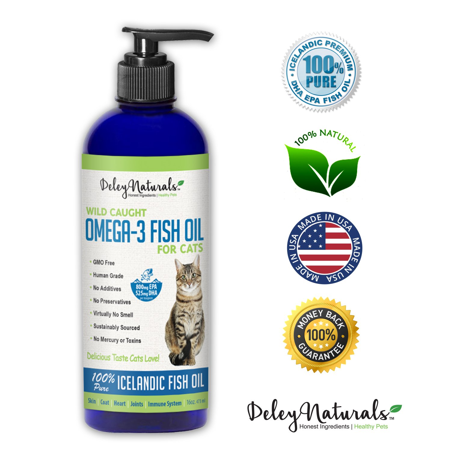 Wild Caught Fish Oil for Cats - Omega 3-6-9, GMO Free - Reduces Shedding, Supports Skin, Coat, Joints, Heart, Brain, Immune System - Highest EPA & DHA Potency - Only Ingredient is Fish - 16 oz by Deley Naturals