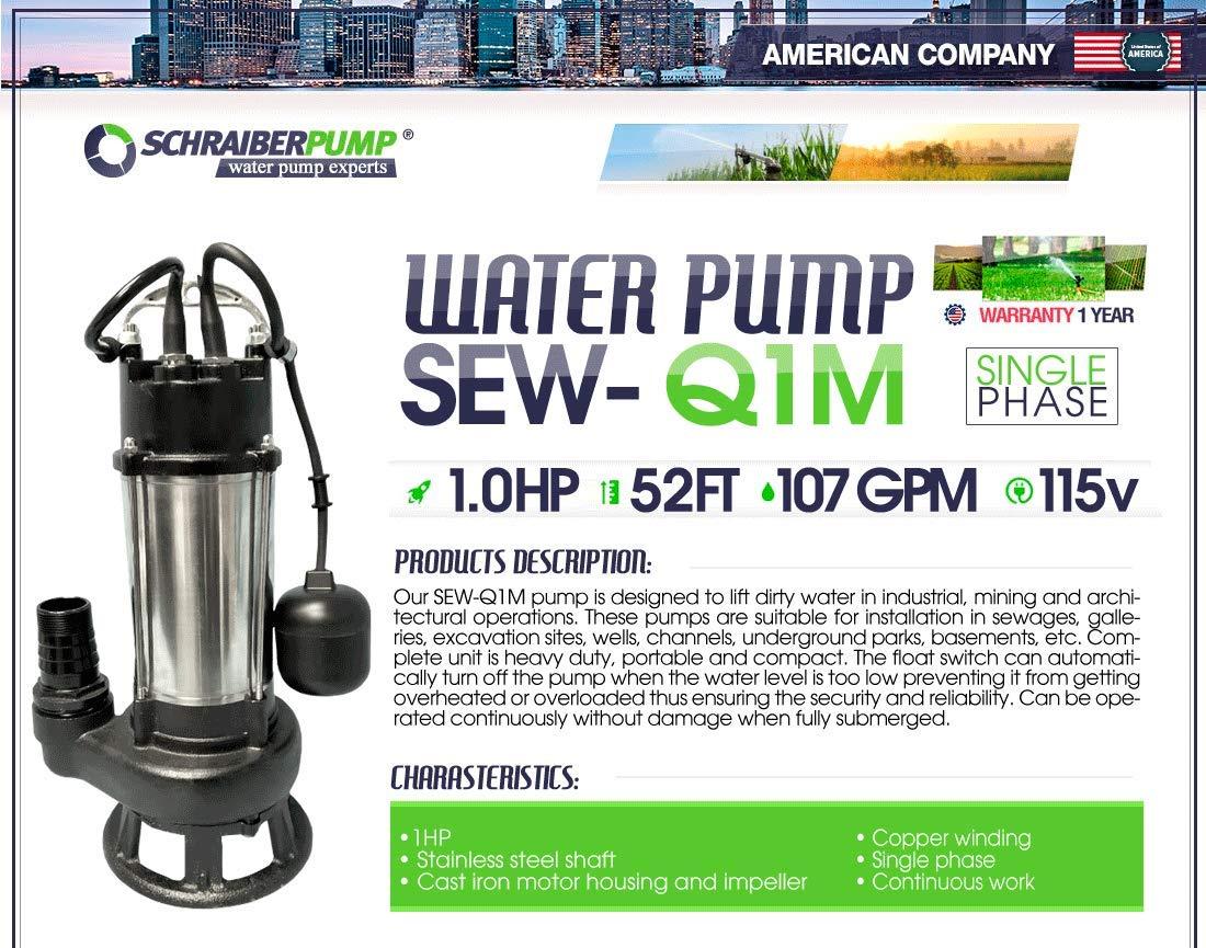 SCHRAIBERPUMP 1hp 115v Heavy Duty Sewage Pump with Float Switch, 100% Cast Iron, 107gpm, 52'lift, cast iron open vortex impellers, MODEL SEQ1M with 30ft of wire by Schraiberpump