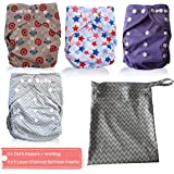 AngelicWare Cloth Diapers Set. Reusable all in One Size Baby Pocket Diaper + 5 Layer Bamboo Inserts +Bonus eBook (5 Pack, Light)