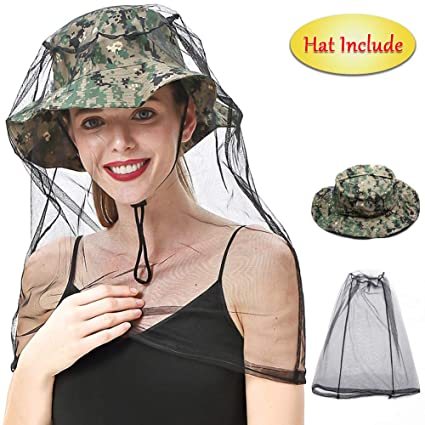 3f16c2a9e32c7 Mosquito Face Head Net with Collapsible Hat Cap (Include) - Camouflage -  Insects &