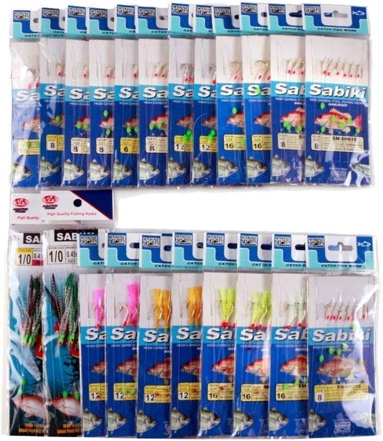 JT-Amigo 22 Packs de Sabiki Bait Rigs Octopus con Diversos Tallas para Pesca