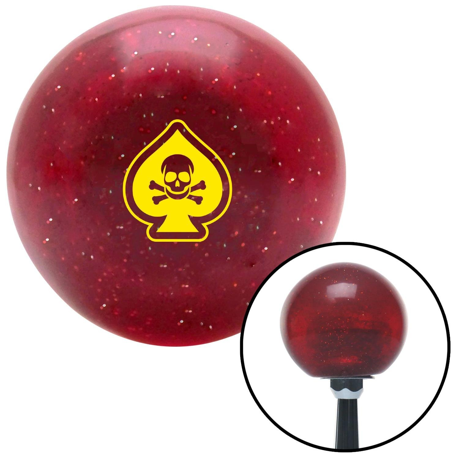 Yellow Spade Skull Red Metal Flake with M16 x 1.5 Insert American Shifter 282868 Shift Knob